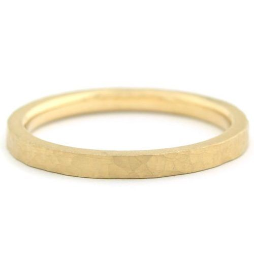 Matte Hammer Texture Band - 18K Yellow Gold