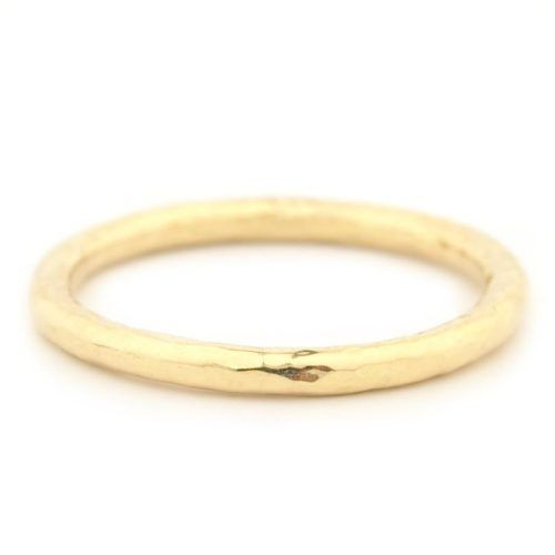 Hammer Finish Band - 18K Yellow Gold