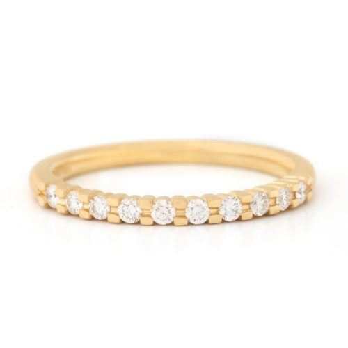 Gold Claw Set Diamond Band - 18K Yellow Gold
