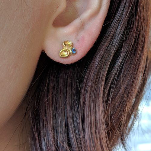 Dimpled Sapphire Stud Earrings