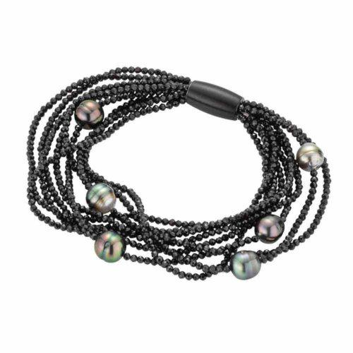 Black Spinel and Tahitian Pearl Magnetic Bracelet