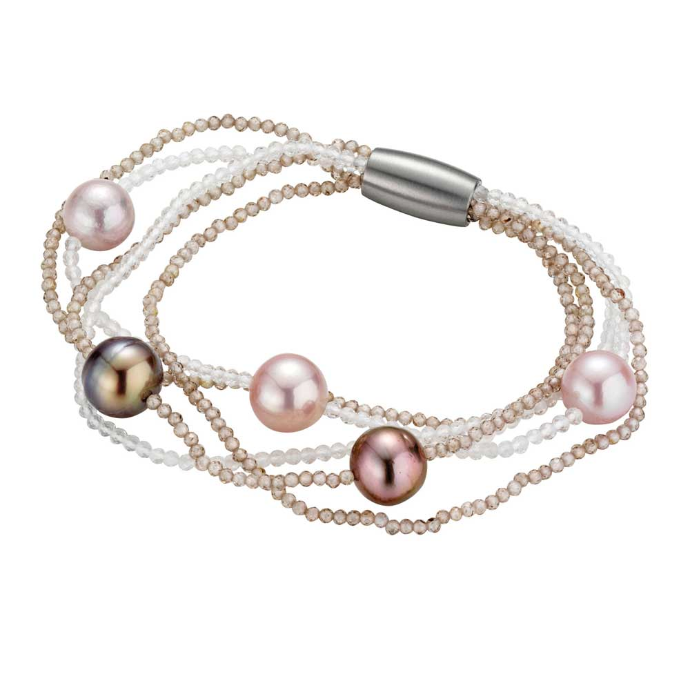 Brown Zircon, Quartz, and Pink-Hued Pearl Bracelet