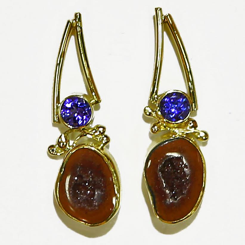 Drusy and Tanzanite Earrings