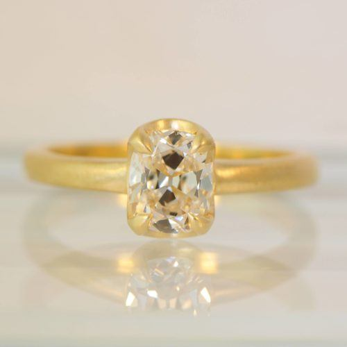 Cushion Cut Diamond Tab Prong Ring