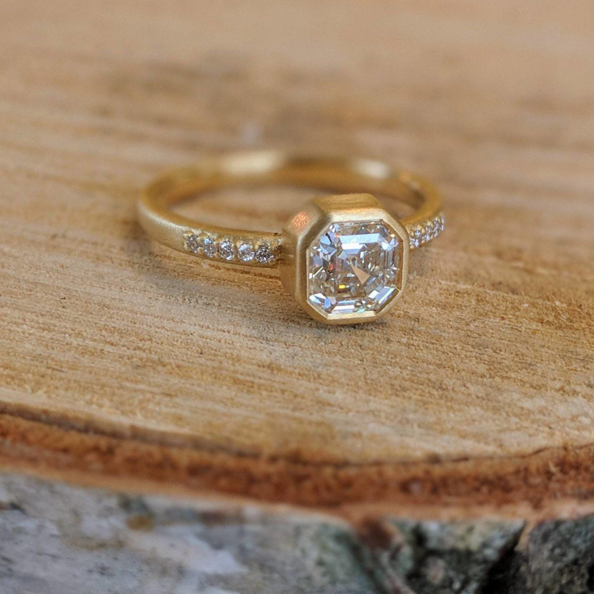 Asscher Cut Bezel Ring