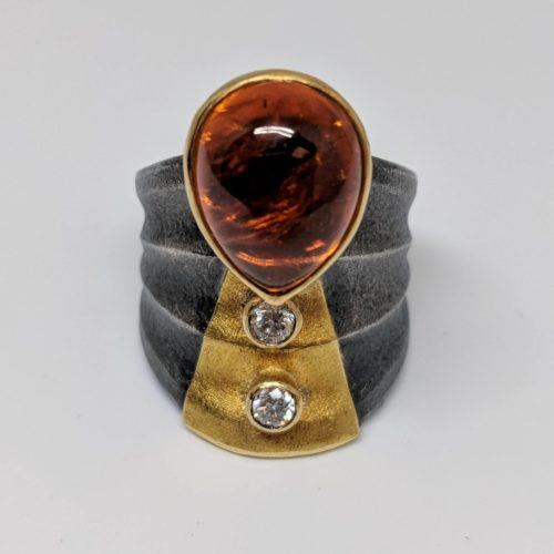 Mandarin Garnet and Diamond Statement Ring