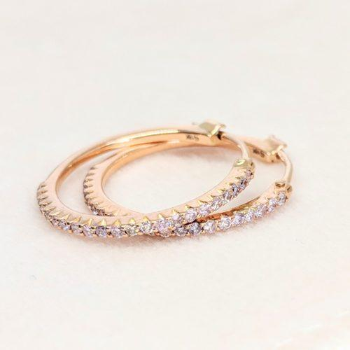 Rose Gold Pink Diamond Micro Hoop