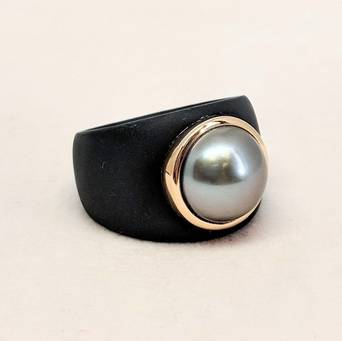 Ionized Steel, Rose Gold and Tahitian Pearl Ring