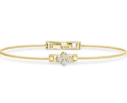 4 Diamond Cluster Unity Wire Bracelet, Yellow Gold