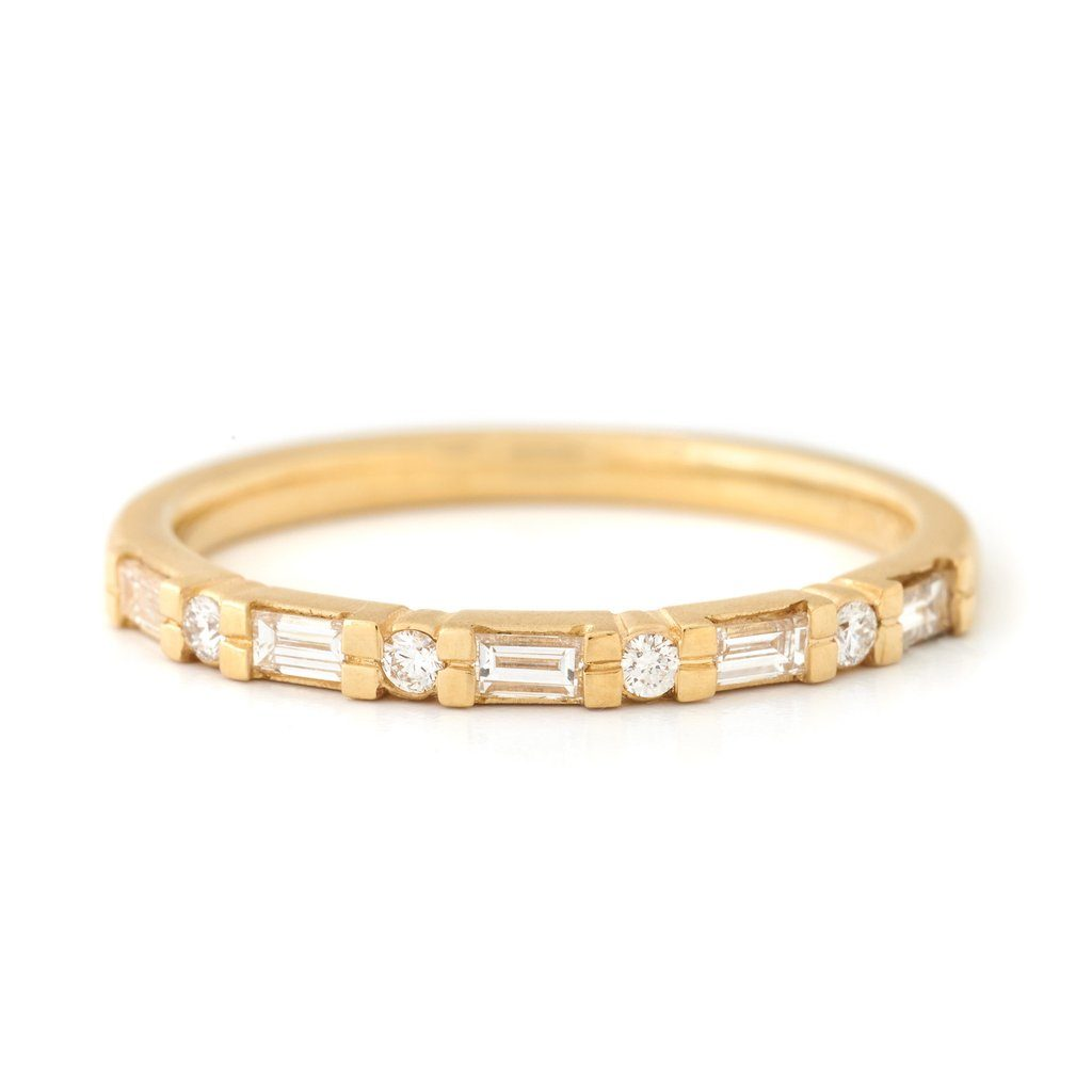 Diamond Baguette Band - 18K Yellow Gold