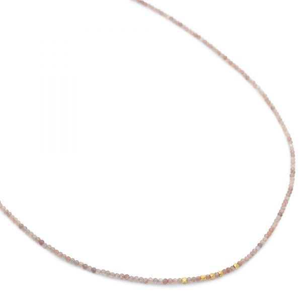 "20"" Mink Moonstone Necklace with Hex Beads"