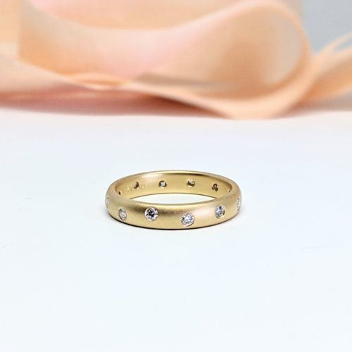 Matte Finished Yellow Gold Scatter Band