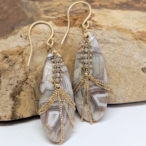 Draped Laguna Lace Agate Earrings
