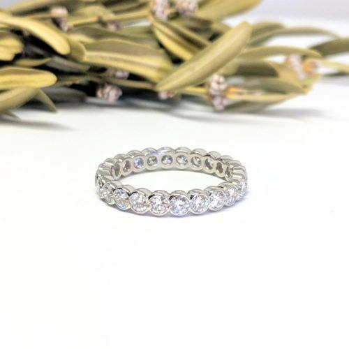 Platinum, Diamond Half-Bezel Eternity Band