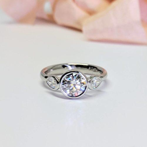 Platinum, Diamond Three-Stone Engagement Ring