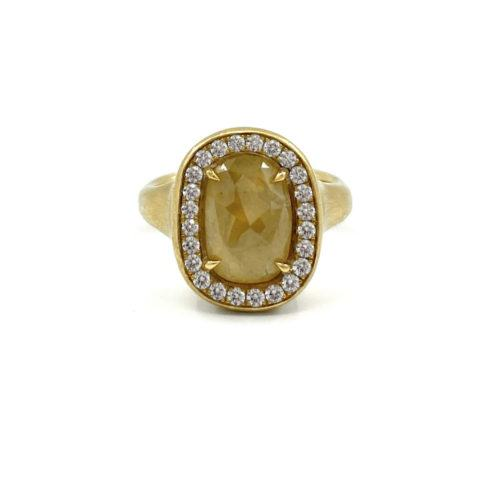 Green-Yellow Cushion Diamond Ring