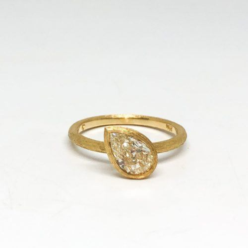 Pear Shaped Diamond with Antique Faceting Engagement Ring