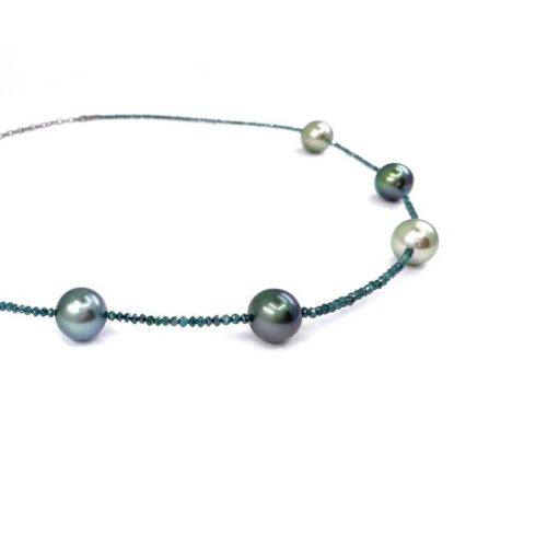 White Gold Tahitian Pearl and Blue Diamond Necklace