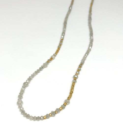 Gold and Gray Diamond Beaded Necklace