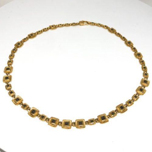 Yellow Gold and Diamond Organic Square Hinge Necklace