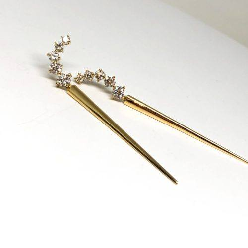 "Gold and Diamond ""Aria Dagger"" Earrings"