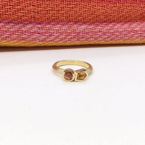 Pink Spinel and Orange Sapphire Geometric Ring