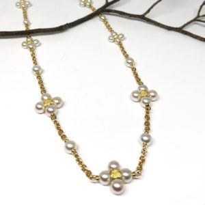Yellow Gold and Pearl Cluster Necklace