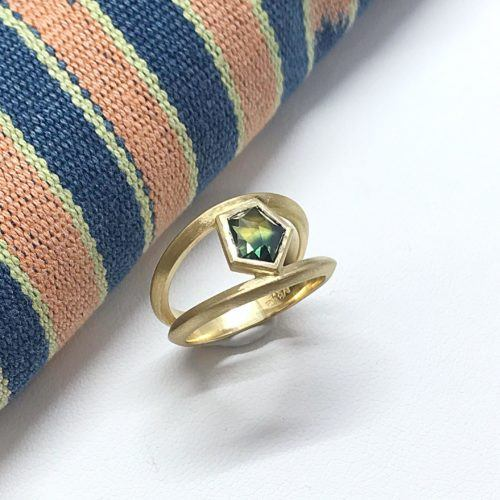 Yellow Gold and Sapphire Double Shank Ring