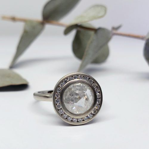 White Gold and Gray Diamond Halo Ring