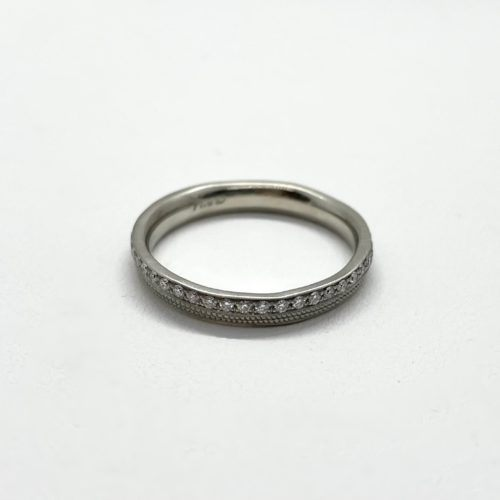 White Gold and Diamond Stardust Wavy Band
