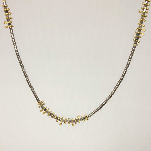 Abstract Mixed Metal Gray Diamond Necklace