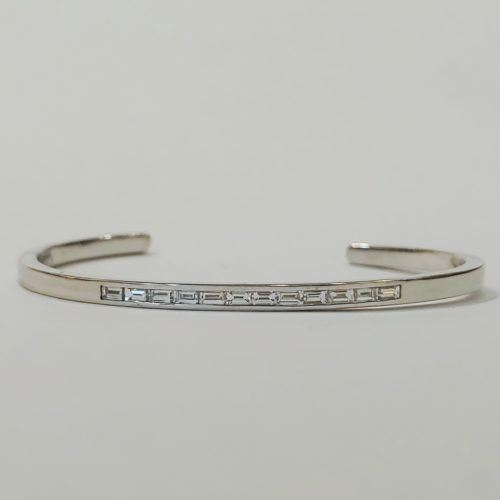 White Gold Channel -set Baguette Cuff
