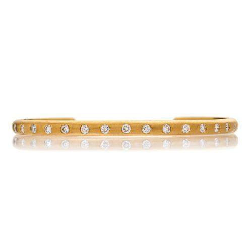 Yellow Gold and Diamond Narrow Cuff
