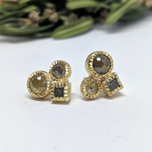 Todd Reed Diamond Cluster Stud Earrings