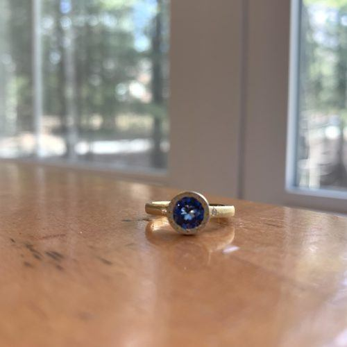 Brushed Yellow Gold and Sapphire Ring