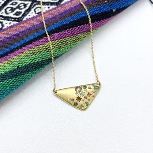 Organic Triangular Multi Gem Gold Pendant
