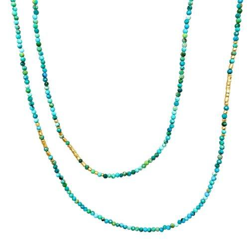 Fauceted Turquoise and Yellow Gold beaded Necklace