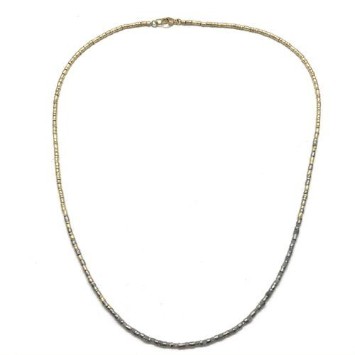 Gray Diamond and Multi Gold Beaded Necklace