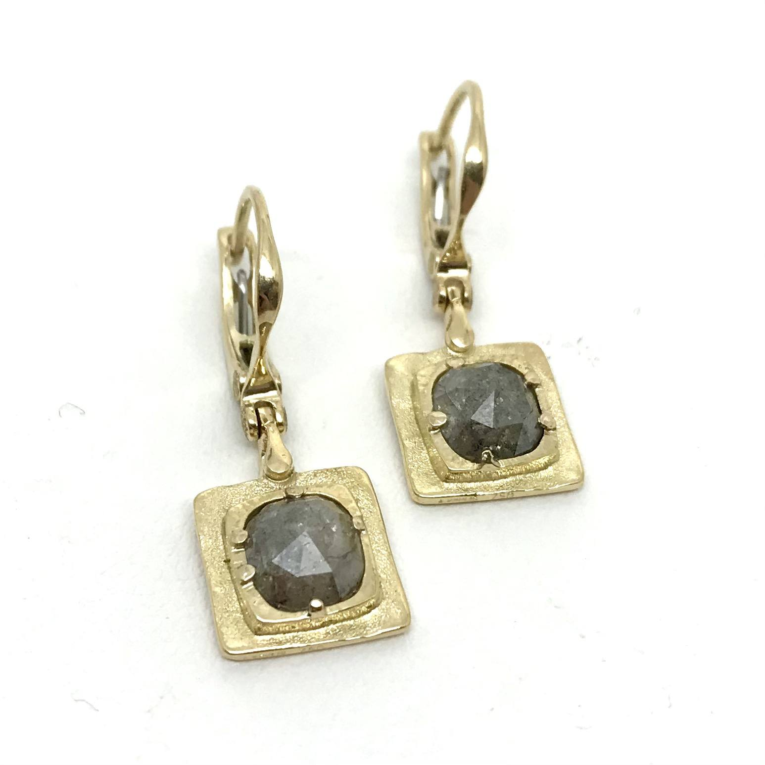 Natural Diamond and Yellow Gold Drop Earrings