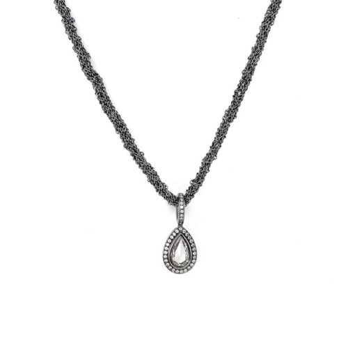 White Gold and Diamond  Crochted Necklace