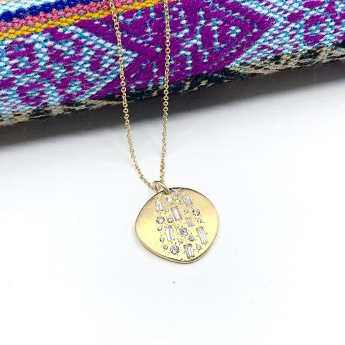 Ali Dumont Yellow Gold and Baguette and Round Diamond Pendant