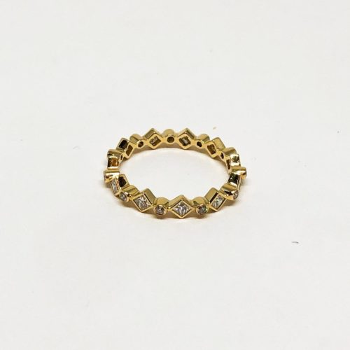 Round Brilliant and Princess Cut Stackable Ring
