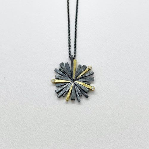Silver and Gold Spray Pendant
